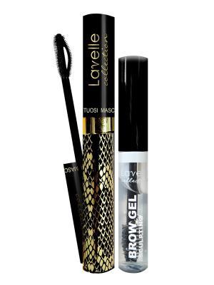 Промо -набор декоративной косметики  №5: тушь+ гель для фиксации бровей Lavelle. Цвет: черный