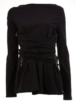 Блузка с молниями и узлом Maticevski. Цвет: чёрный