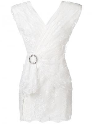Кружевное платье с запахом Alessandra Rich. Цвет: белый