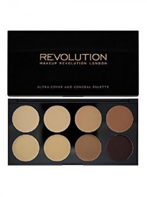 Набор консилеров Cover and Conceal Medium-Dark MakeUp Revolution. Цвет: черный, коричневый, светло-серый
