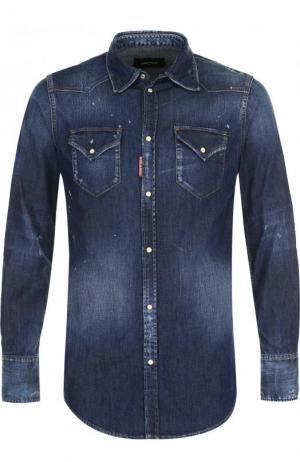Джинсовая рубашка с потертостями Dsquared2. Цвет: темно-синий