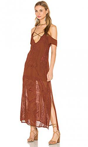 Платье paris Cleobella. Цвет: коричневый