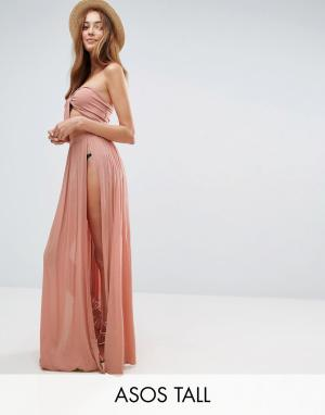 ASOS Tall Пляжная юбка макси от костюма с разрезами. Цвет: розовый
