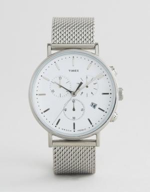 Timex Серебристые часы с хронографом 41 мм и сетчатым ремешком Fairfie. Цвет: серебряный