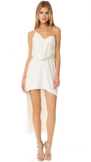 Асимметричное платье с драпировкой Halston Heritage. Цвет: мел
