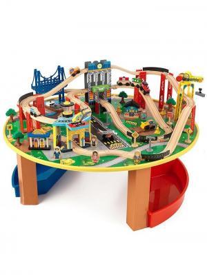 Деревянная железная дорога наш город, 80 элементов со столом KidKraft. Цвет: синий, бежевый, красный
