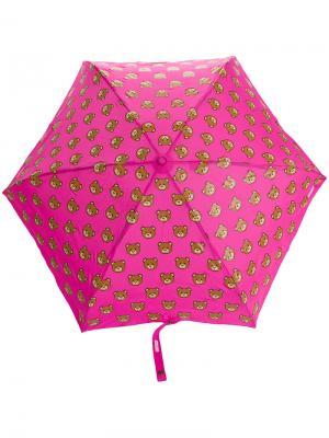 Зонт с принтом медведей Moschino. Цвет: розовый и фиолетовый