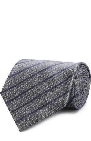 Шелковый галстук в полоску Brioni. Цвет: темно-синий