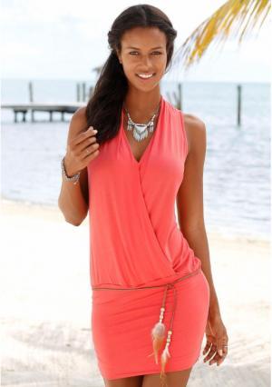 Пляжное платье s.Oliver. Цвет: белый, коралловый, черный