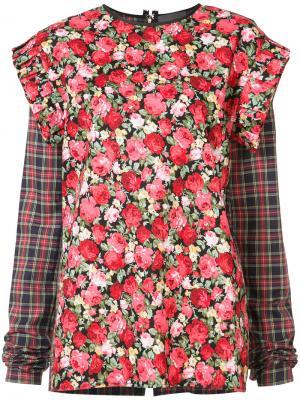 Блуза с оборками Les Animaux. Цвет: многоцветный