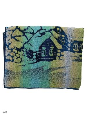 Полотенце махровое пестротканое жаккардовое Зима Авангард. Цвет: синий, зеленый