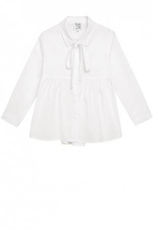 Блуза с бантом из эластичного хлопка Aletta. Цвет: белый