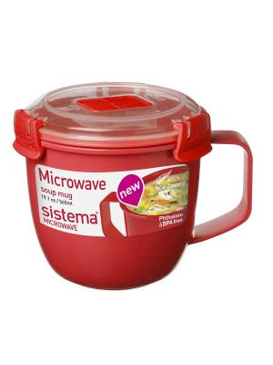 Кружка суповая 565мл MICROWAVE Sistema. Цвет: красный
