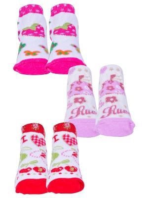 Носки, 3 пары Malerba. Цвет: красный, розовый