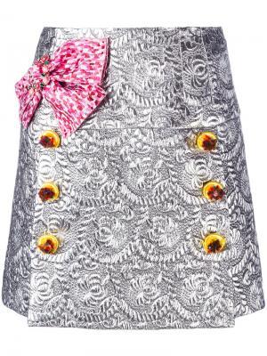 Парчовая мини юбка Dolce & Gabbana. Цвет: серый