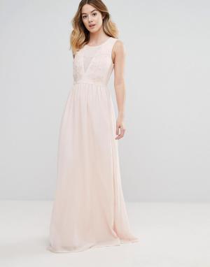 Club L Платье макси с вышивкой из роз для подружки невесты. Цвет: розовый