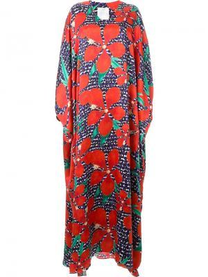 Платье-кафтан с цветочным принтом Ingie Paris. Цвет: красный