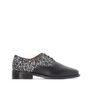Ботинки-дерби кожаные с пайетками Desir JONAK. Цвет: черный/ серебристый