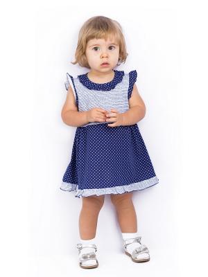 Платье Апрель. Цвет: синий, серебристый, белый