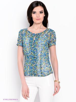 Блуза KEY FASHION. Цвет: синий, оливковый