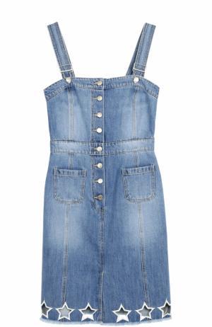 Приталенный джинсовый сарафан Steve J & Yoni P. Цвет: голубой