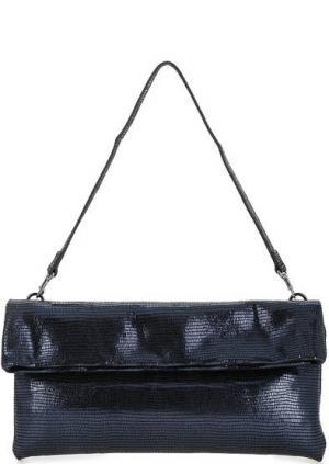 Кожаная сумка с выделкой под рептилию Gianni Chiarini. Цвет: синий