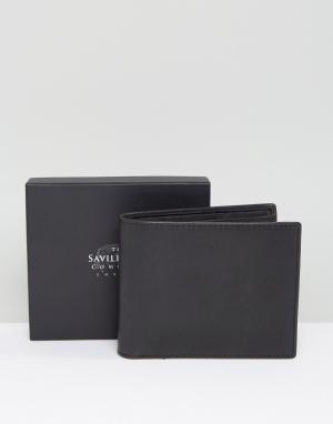 Saville Row Кожаный бумажник с карманом для монет. Цвет: черный