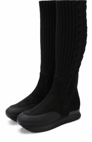 Кожаные сапоги с вязаной отделкой Hogan. Цвет: черный