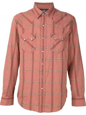 Клетчатая рубашка с нагрудными карманами Rrl. Цвет: красный