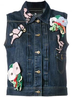 Джинсовая куртка без рукавов с заплатками Michaela Buerger. Цвет: синий