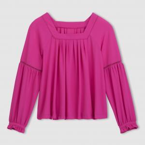 Блузка в стиле фолк La Redoute Collections. Цвет: розовый/фиолетовый,слоновая кость