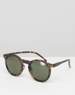 New Look Солнцезащитные очки в стиле ретро с черепаховой оправой. Цвет: коричневый