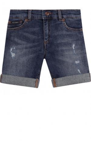 Джинсовые шорты с вышивкой и отворотами Dolce & Gabbana. Цвет: темно-синий
