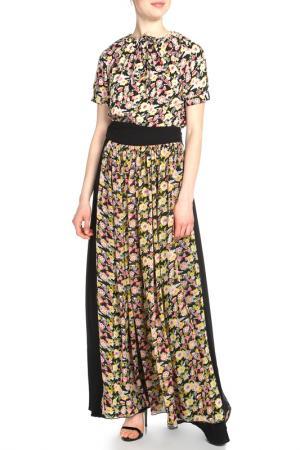 Платье с поясом кушак Adzhedo. Цвет: черный, красно-желтые цветы