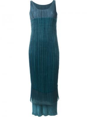 Двухслойное плиссированное платье Issey Miyake Vintage. Цвет: зелёный