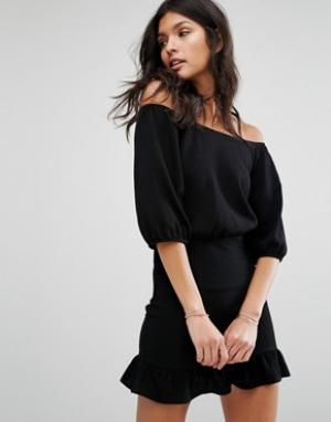 Flynn Skye Платье с открытыми плечами. Цвет: черный
