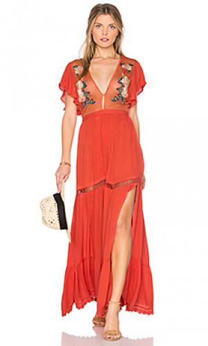 Макси платье amery Cleobella. Цвет: коралл