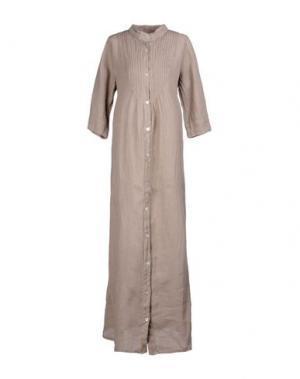 Длинное платье LA FABBRICA DEL LINO. Цвет: хаки