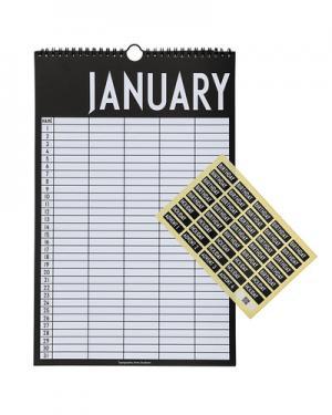 Календарь Design Letters. Цвет: черный с белым