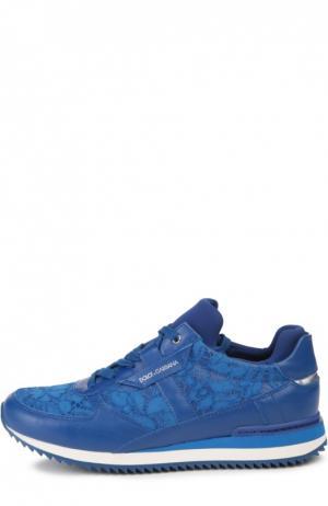 Кожаные кроссовки Nigeria с кружевом Dolce & Gabbana. Цвет: синий