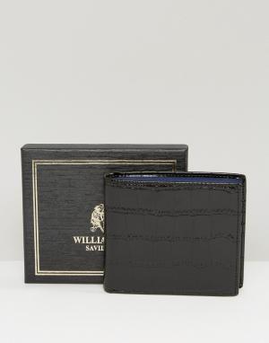 William Hunt Черный кожаный бумажник с контрастной подкладкой. Цвет: черный