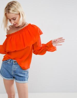 ASOS Блузка на одно плечо с оборками. Цвет: оранжевый