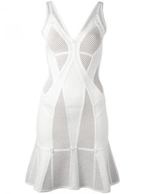 Перфорированное расклешенное платье Hervé Léger. Цвет: белый