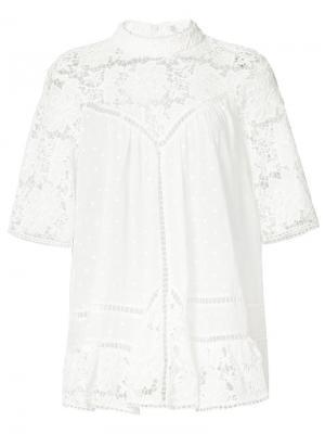 Блузка с вышивкой Zimmermann. Цвет: белый