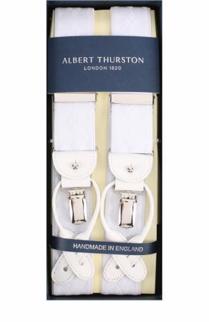 Подтяжки с отделкой из натуральной кожи Albert Thurston. Цвет: белый