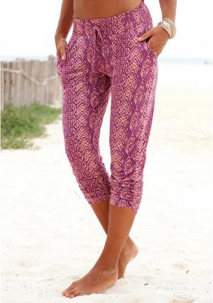 Пляжные брюки Lascana. Цвет: лиловый с рисунком