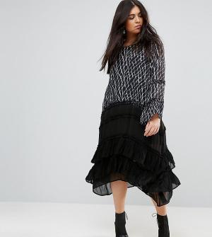 Religion Plus Платье миди с длинными рукавами, рюшами и многослойной юбкой. Цвет: мульти