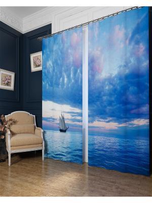 Фотошторы Парусник в голубом море, Блэкаут Сирень. Цвет: голубой, белый, розовый, серый