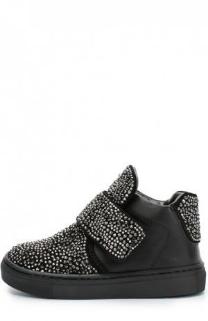 Кожаные кроссовки со стразами Missouri. Цвет: черный