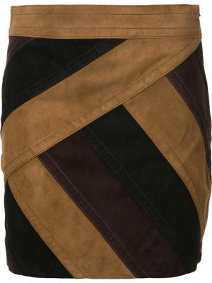 Мини-юбка с панельным дизайном Derek Lam 10 Crosby. Цвет: коричневый